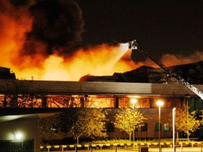 Sony warehouse on fire
