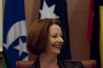 Julia Gillard all smiles
