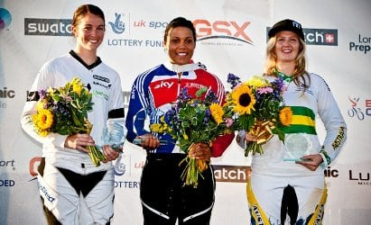 Aussie Lauren Reynolds (right) came third behind Shanaze Reade of Great Britain and New Zealand rider Sarah Walker at the recent BMX Olympic test event in London. (Image: Craig Dutton)