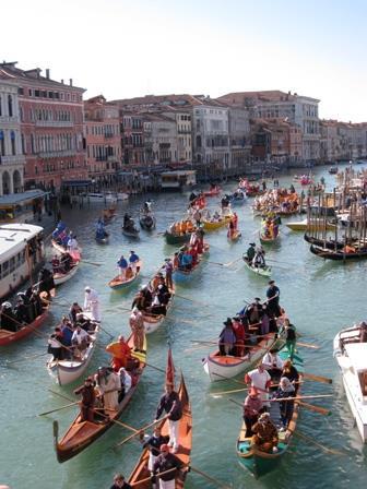 Venice carnival boats