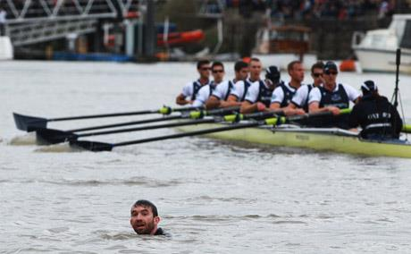 Trenton Oldfield disrupts the University Boat Race between Oxford and Cambridge University on the River Thames.