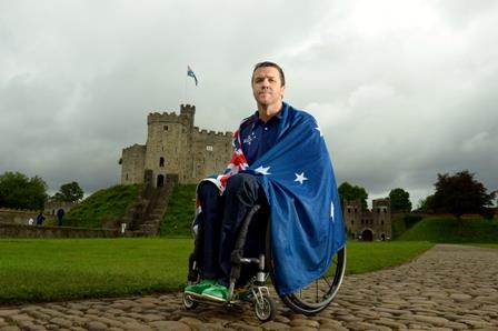 wheelchair rugby star Greg Smith, who has been selected to carry the flag for the Australian Paralympic Team, at the flagbearer announcement at Cardiff Castle, Wales, Tuesday, Aug. 21, 2012. (AAP Image/Sport the library, Jeff Crow)