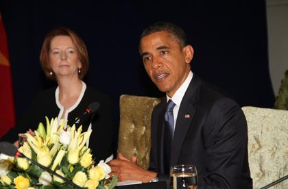 Gillard and Obama discuss Middle East