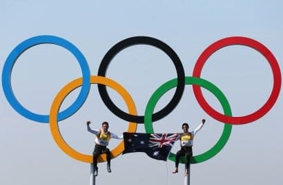 Australian sport 2012 - Mathew Belcher and Malcolm Page sit on the olympic rings