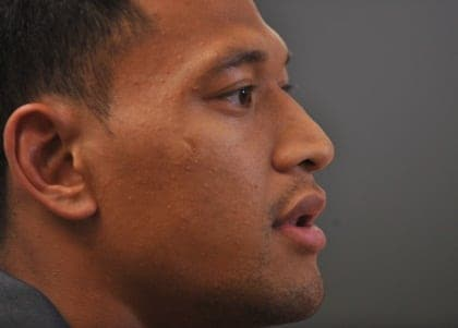 Greater Western Sydney Giants AFL player, Israel Folau at a press conference in Sydney on Thursday, Nov. 1, 2012. Star rugby league convert Israel Folau has confirmed he will leave the AFL after one season with Greater Western Sydney. (AAP Image/Paul Miller) NO ARCHIVING