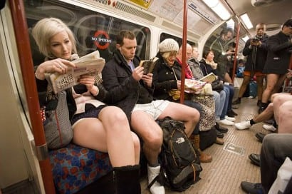 The second annual Don't Wear Your Trousers on the Tube event. London, Britain