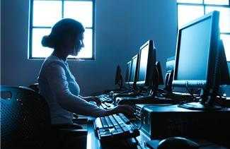 Woman in computer lab