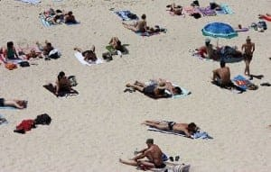 sunbathing crowd