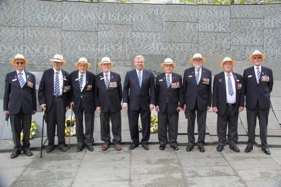 DVA Veterans at Wreath-Laying Ceremony at the Australian War Memorial, Hyde Park, London. Image courtesy of Department of Veterans Affairs.