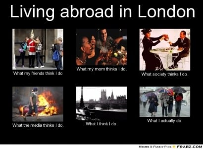 Living abroad in London meme