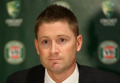 Australian cricket captain Michael Clarke speaks at a media conference at Sydney airport before departing for the ICC Champions Trophy and the VB Tour of England. Sydney, Sunday, May 26, 2013. (AAP Image/Damian Shaw) NO ARCHIVING
