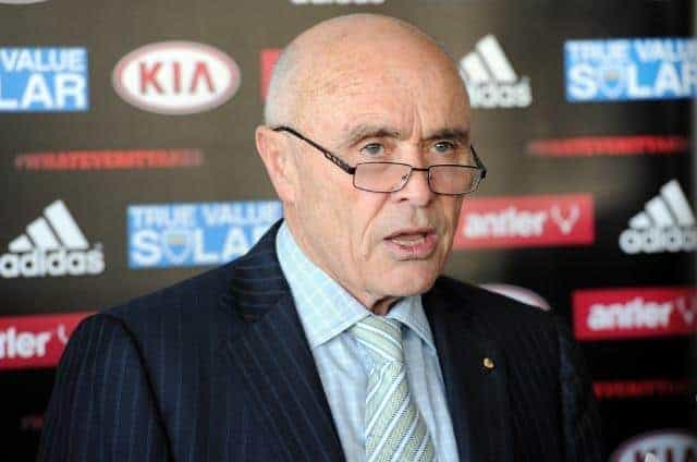 Essendon chairman chairman Paul Little speaks at a media conference at the Olsen Hotel in Melbourne, Wednesday, Aug. 22, 2013. Hird and the club deny any wrongdoing in the ongoing supplements scandal. (AAP Image/Julian Smith) NO ARCHIVING