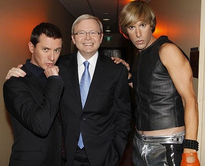 Kevin Rudd with Bruno