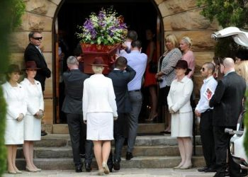 Mourners assemble at the funeral for Gary Tweddle, in Sydney, on Friday, Sept. 13, 2013. 23 year old Mr Tweddle became lost and fell from a cliff in the Blue Mountains while attending a work conference. (AAP Image/Dan Himbrechts) NO ARCHIVING