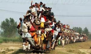 Mumbai-Trains transport busy