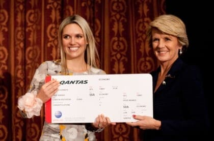 Australian Woman of the Year in the UK Award 2014 Winner Sarah Ramwell with The Hon. Julie Bishop MP Australian Minister for Foreign Affairs