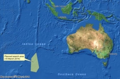 Malaysia Airlines missing flight possible debris found near Australia - map