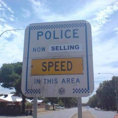 funny police speed sign australia