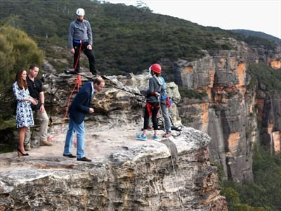 Prince William steps close to edge at Narrow Neck on royal tour