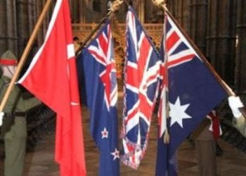 Anzac Day in London - flags