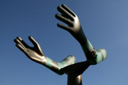 LEEDS Millennium Sq Hands sculpture