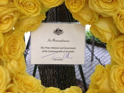 Tony Abbott 9/11 Memorial wreath