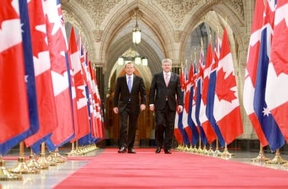 Tony Abbott Canada visit with PM Stephen Harper