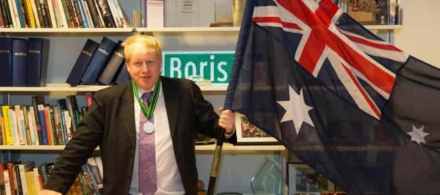 Boris Johnson London Mayor Australia flag