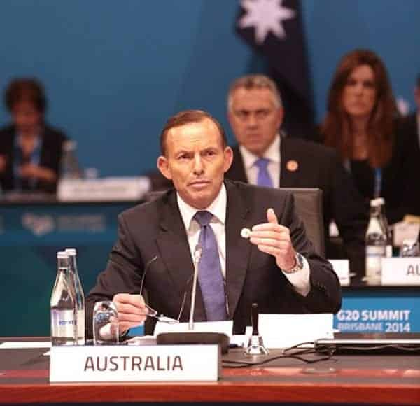 THE G20 SHOW: Tony Abbott opens up about his problems while Joe Hockey keeps an eye out for Bill Shorten. (Photo: Andrew Taylor/G20 Australia via Getty Images)