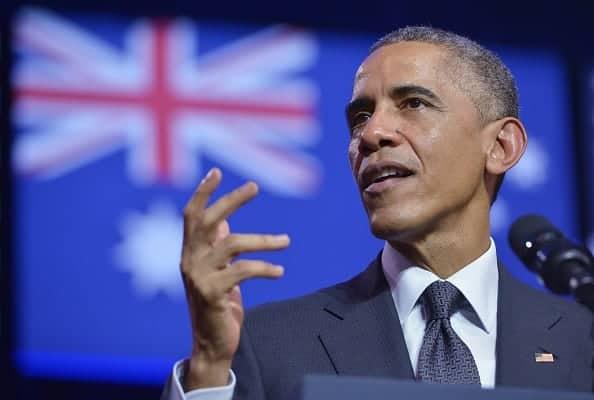 "THE G20 SHOW: Barack tells Australia, ""Yeah, nah"". (Photo: Mandel Ngan/AFP/Getty Images)"