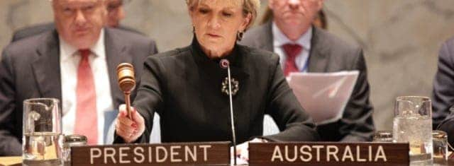 Foreign Minister Julie Bishop presiding over a United Nations United Nations Security Council meeting on counter-terrorism in New York, 19 November, 2014. (Credit: DFAT/Trevor Collens)