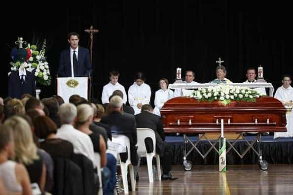 PHILLIP HUGHES FUNERAL: The service took place in the Macksville High School sports hall on December 3, 2014. (Photo by Cameron Spencer/Getty Images)