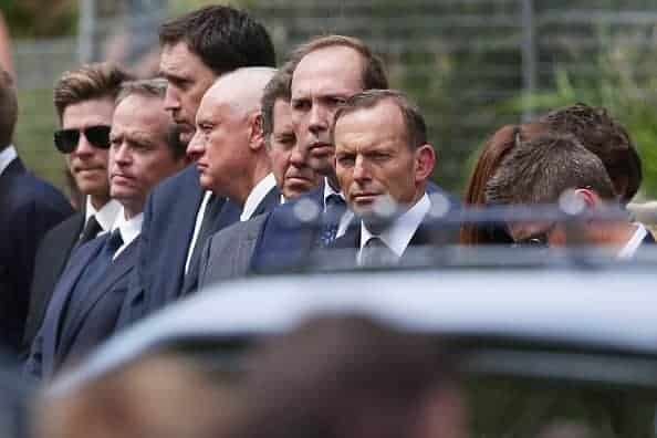 PHILLIP HUGHES FUNERAL:  Senior Australian politicians including Tony Abbott and Bill Shorten, line up for the guard of honour. (Photo by Michael Dodge/Getty Images)