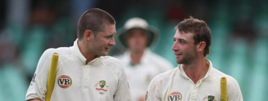 Michael Clarke and Phil Hughes - cricket - Getty