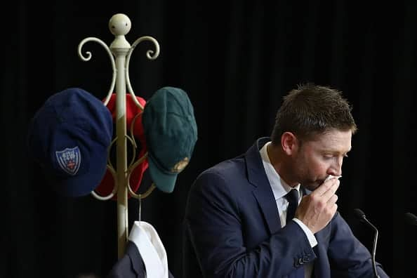 PHILLIP HUGHES FUNERAL: Michael Clarke struggles with tears as he delivers an emotional tribute. (Photo by Cameron Spencer/Getty Images)