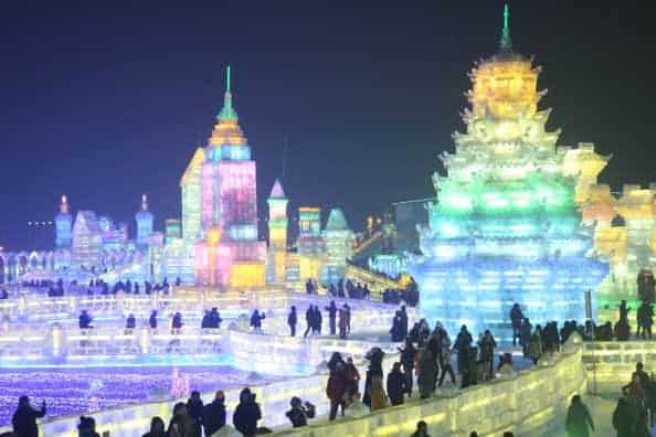 Sculptures of the Harbin International Ice & Snow Sculpture Festival in Harbin, Heilongjiang province of China. (ChinaFotoPress via Getty Images)