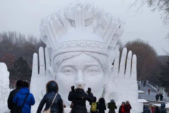 The annual Ice Sculpture Festival attracts domestic and foreign tourists to visit the Chinese city of Harbin. (Photo by Lintao Zhang/Getty Images)