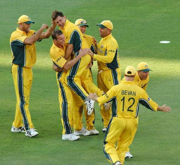 The Australian players celebrate a wicket in 2003