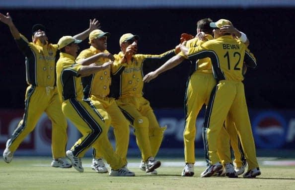 Glenn McGrath of Australia is mobbed in Cricket Worl Cup Final 2003