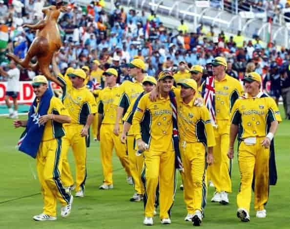 The Australian cricket team celebrate their World Cup win