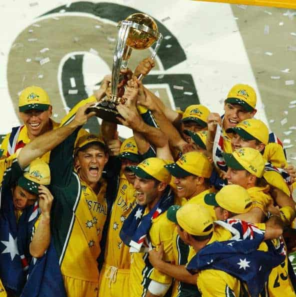 Australia hold aloft the Cricket World Cup in 2003