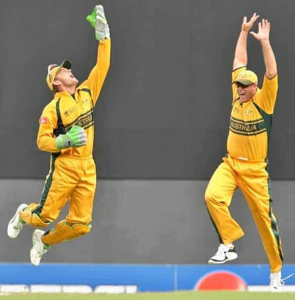 Australia celebrate wicket in Cricket World Cup Final