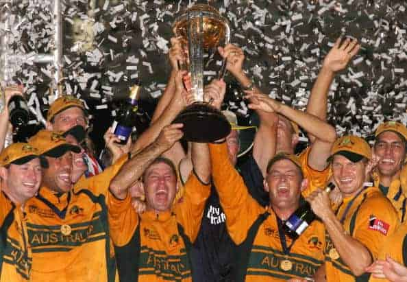 Australia lift Cricket World Cup trophy