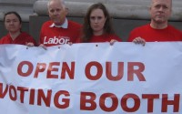 "London protest at ""undemocratic"" closure of Australian overseas polling stations"