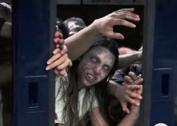 zombies on a train prank video