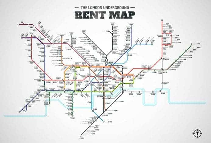 London Rent - Tube map - enlarge