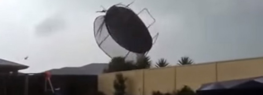 Trampoline takes flight in wild Aussie storms [VIDEO]