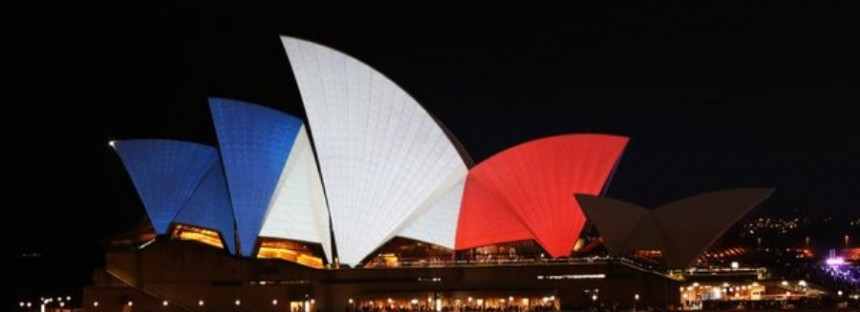 Australian landmarks in French tricolor solidarity