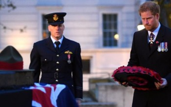 Prince Harry lays wreath at Anzac Day Dawn Service in London