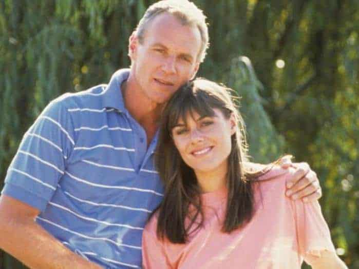 Alan Dale (Jim) and Ally Fowler (Zoe) in an early episode of `Neighbours`  (1985 - present)